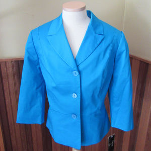 NWT Collections for Le Suit sz 12 blazer Teal Blue